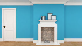 Interior in blue with a fireplace, books and empty pictures. 3D Stock Photo