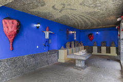 Interior of the Blue House La Casa Azul with socialist sign Royalty Free Stock Photo