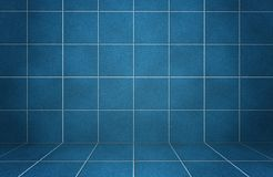 Interior blue marble tiled wall with shadows Stock Photography