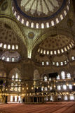 Interior of the blue Mosque, Istanbul. The interior of the blue mosque of Istanbul is covered with blue tiles. It was buildt by Sultan Achmed in 1609 Royalty Free Stock Photography
