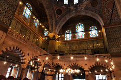 Interior of Blue Mosque in Istanbul, Sultanahmet Royalty Free Stock Image