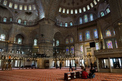 Interior of the blue mosque Stock Photos