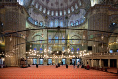 Interior of Blue Mosque, Istanbul, Turkey. stock photo