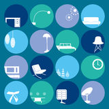 Interior blue ornaments set Royalty Free Stock Images