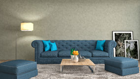 Interior with blue sofa. 3d illustration Royalty Free Stock Images