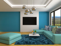 Interior with blue sofa. 3d illustration Stock Photography