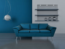 Interior in blue tones Royalty Free Stock Image