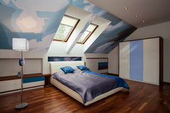 Interior of blue and white bedroom Royalty Free Stock Image