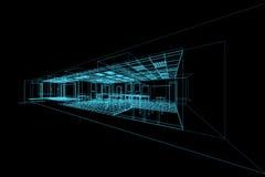 Interior blueprint on black. High resolution 3d render Stock Photos