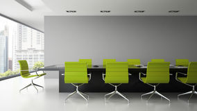 Interior of  boardroom with  green armchairs 3D rendering. Interior of  boardroom with green armchairs 3D rendering Royalty Free Stock Photography