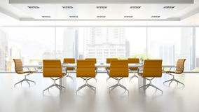 Interior of boardroom with orange armchairs 3D rendering 2 Royalty Free Stock Image