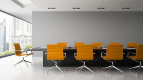 Interior of  boardroom with orange armchairs 3D rendering. Interior of   boardroom with orange armchairs 3D rendering Stock Images