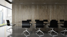 Interior of  boardroom with wooden wall 3D rendering. Interior  of  boardroom with wooden wall 3D rendering Royalty Free Stock Photo