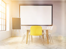 Interior with boards toning. Interior design with blank whiteboard on wall, blackboard stand, table and chairs, concrete wall and wooden floor. Toned image. Mock Stock Photos