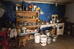 Interior of a bolivian house along the road to Oruro - Bolivia stock photography