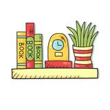 Interior book shelf with clock and house plant doodle vector. Interior book shelf with clock and house plant colorful doodle line vector illustration stock illustration