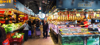 Interior of Boqueria market. Barcelona Royalty Free Stock Image