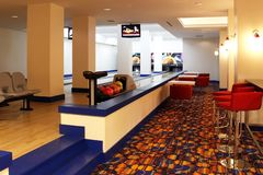 Interior of bowling center with two bowling lanes royalty free stock images