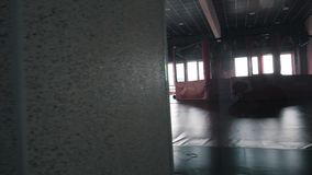 Interior of a boxing hall. Sunlight in the window. Camera movement stock video