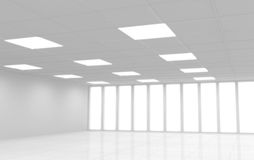 Interior branco abstrato do escritório 3d Fotografia de Stock Royalty Free