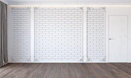 Interior branco clássico moderno com parede de tijolo, porta, o assoalho de madeira, o teto retroiluminado, o molde e a cortina ilustração do vetor