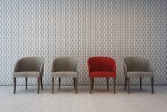 Interior branco com teste padrão da decoração da parede e poltronas, sala de espera Foto de Stock