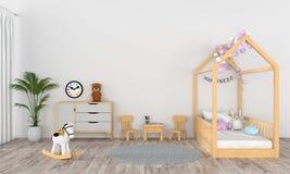 Interior branco da sala de crianças para o modelo, rendição 3D ilustração do vetor