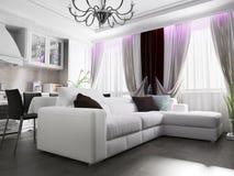 Interior branco da sala de visitas Imagem de Stock Royalty Free