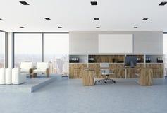 Interior branco do escritório do CEO da parede de tijolo, cartaz ilustração do vetor