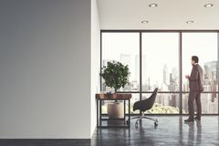Interior branco do escritório domiciliário, homem Foto de Stock