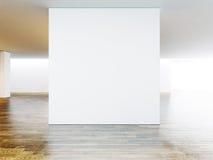 Interior branco do museu com assoalho de madeira 3d rendem Imagens de Stock Royalty Free