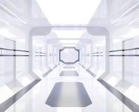 interior branco e brilhante da nave espacial da rendição 3D com vista, túnel, corredor ilustração do vetor