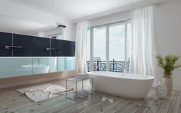 Interior branco espaçoso moderno do banheiro Imagem de Stock Royalty Free
