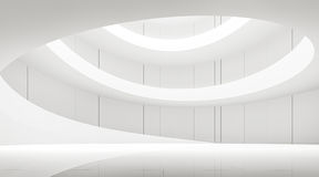 Interior branco moderno do espaço com imagem espiral da rendição da rampa 3d Imagens de Stock