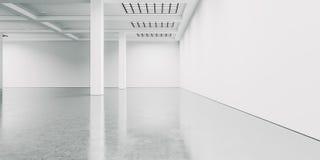 Interior branco vazio com assoalho concreto 3d Foto de Stock Royalty Free