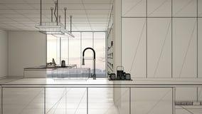 Interior branco vazio com o assoalho de azulejos branco, projeto de design feito sob encomenda da arquitetura, esbo?o de tinta pr fotos de stock