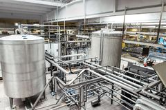 Interior of brewery equipment Royalty Free Stock Image