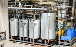 Interior of brewery equipment Royalty Free Stock Photography