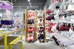 Interior of bright underwear shop Stock Photos