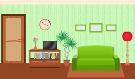 Interior brilhante da sala de visitas das cores no estilo liso ilustração royalty free