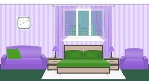 Interior brilhante do quarto das cores com mobília e arquitetura da cidade fora da janela ilustração do vetor