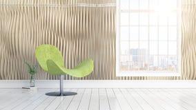 Interior brilhante moderno com grande janela rendição 3d ilustração stock