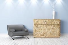Interior brilhante moderno 3d rendem Fotos de Stock Royalty Free