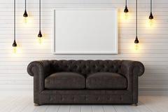 Interior brilhante moderno 3d rendem Imagem de Stock Royalty Free