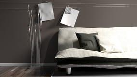 Interior brilhante moderno rendição 3d Imagens de Stock