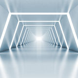 Interior brillante azul claro vacío abstracto del pasillo Fotos de archivo libres de regalías