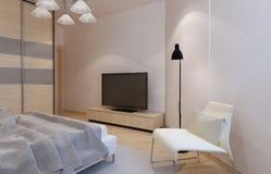 Interior brillante del dormitorio Foto de archivo