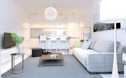 Interior brillante del estudio moderno del salón Imagen de archivo libre de regalías