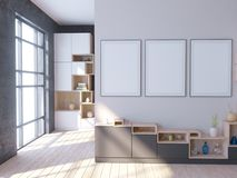 Interior brillante moderno con el marco vacío 3d que rinde el ejemplo 3d libre illustration