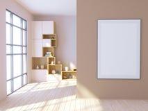 Interior brillante moderno con el marco vacío 3d que rinde el ejemplo 3d stock de ilustración